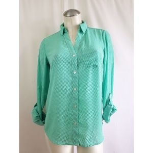 Outback Red  Size XS Turquoise Top Polka Dots